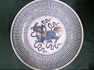 青花瓷 唐獅子図皿
