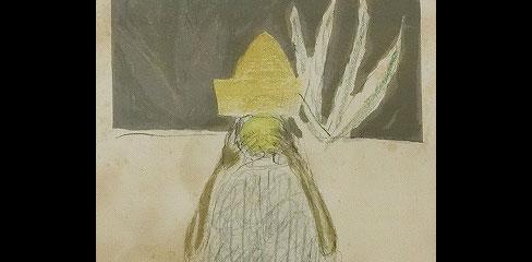 鳥海青児「果汁を吸うマヤ人」リトグラフ