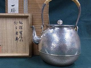 一鶴斎 純銀製 銀瓶