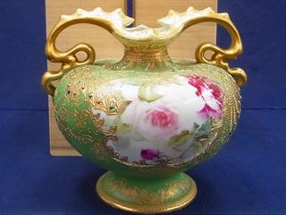 オールドノリタケ メープルリーフ印花瓶