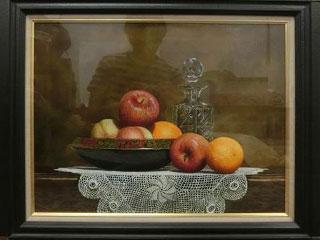 下村正二「セピア色の卓上」油彩画