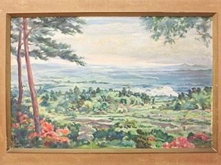 岡本唐貴 風景 油彩画