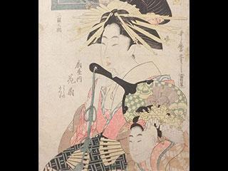 喜多川歌麿 遊君自筆額雛形 木版画