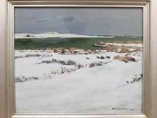 真下慶治「冬の河口」油彩
