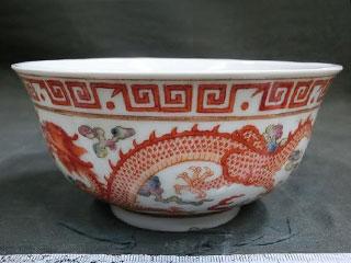 大清光緒年製 彩絵龍鳳凰図 鉢