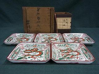南京 呉須赤絵 角皿
