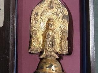 光背漢文刻 鍍金銅仏三尊
