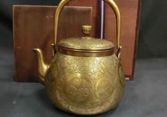 茶道具 鍍金銅製 彫金水注
