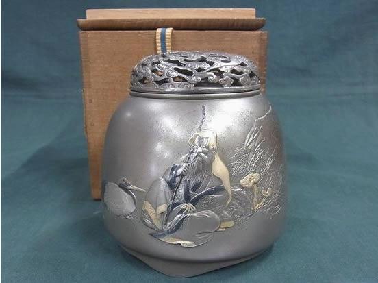 美則刻 銀製 寿老人図 香炉