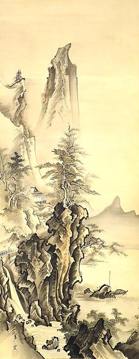 狩野芳崖「秋山飛瀑之図」
